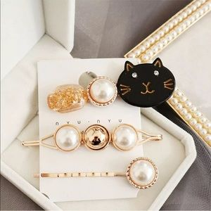 NWT 3 decorative hair pins cat,gold & pearl pins!